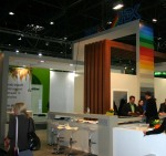 Tall colourful exhibition stand with lights