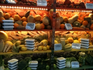 Coloured vegetables display - Lurpak